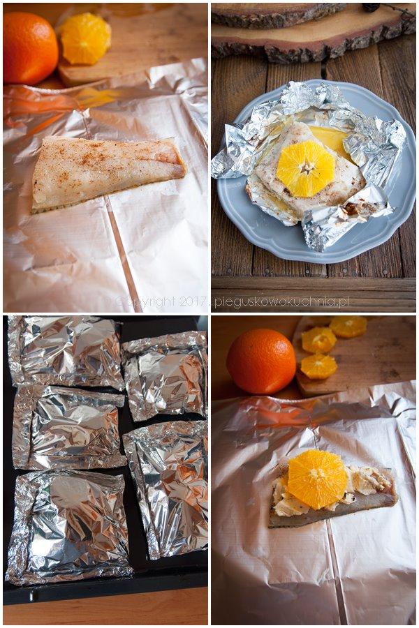 sandacz zapiekany z masłem waniliowym i pomarańczami