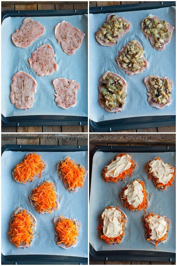 schab zapiekany pod pierzynką z marchewki i pieczarek